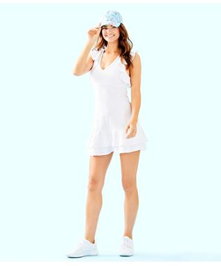 UPF 50+ LUXLETIC RALLY TENNIS DRESS 115 RESORT WHITE