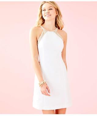 PEARL STRETCH SHIFT DRESS 115 RESORT WHITE CALIENTE PUCK