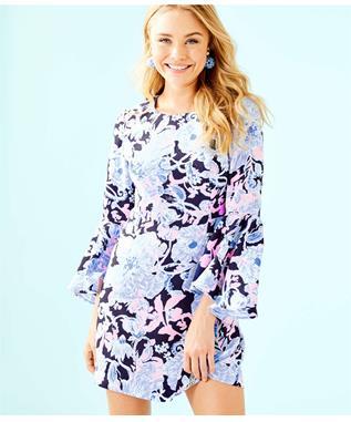KAYLA STRETCH DRESS 410 BRIGHT NAVY AMORE PLEASE