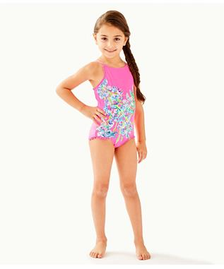 GIRLS UPF 50+ JULIET ONE PIECE SWIMSUIT 6941B0-PINK TROPI