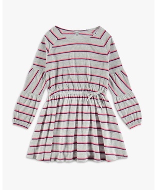 GIRLS HEATHER STRIPE DRESS ICE GREY HEATHER