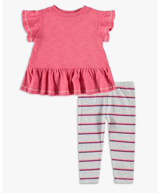 BABY GIRLS STRIPE GATHERED HEM TOP SET SHANGRI ROSE