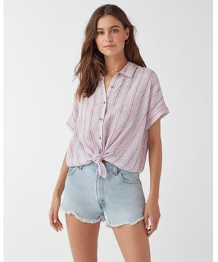 Canyon Short Sleeve Stripe Button Up Shirt PINK GLOW MULTI