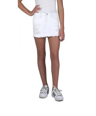 GIRLS DESTRUCTED MINI SKIRT WHITE