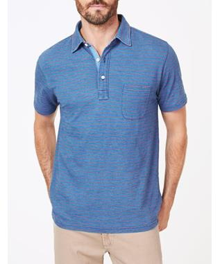 SHORT SLEEVE INDIGO POLO MED INDIGO RED