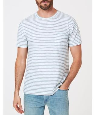 SHORT SLEEVE INDIGO POCKET TEE WHITE LT INDIGO WASH