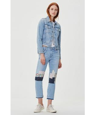 EMERSON CROP SLIM FIT BOYFRIEND JEAN HEARTLAND PATCH