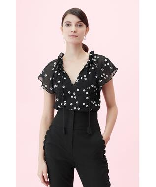 ALESSANDRA EMBROIDERED TOP BLACK COMBO