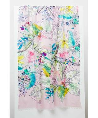TINTED FLORAL PRINT SCARF MULTI