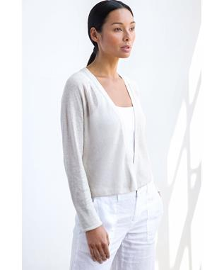 LINEN MESH STITCH DRESS CARDIGAN WHITE