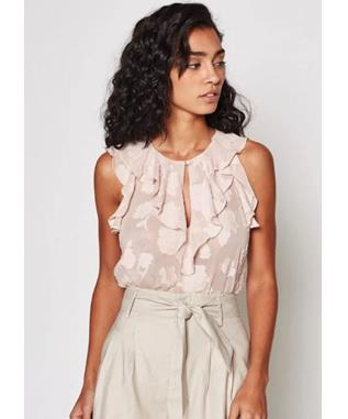 EDDISON FLORAL RUFFLED TOP PINK SKY