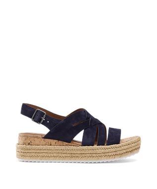 WOMENS RANDI STRAPPY WEDGE SANDAL NAVY