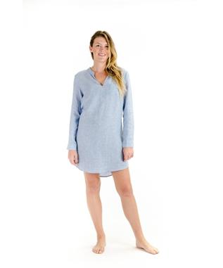 BANANAKEET LONG SLEEVE DRESS CHAMBRAY BLUE