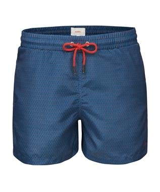 BREEZE SWIM SHORT LONG RED ALERT GRID