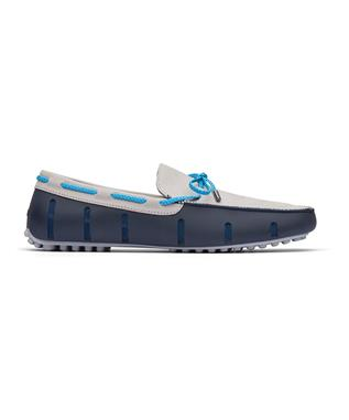 BRAIDED LACE LUX LOAFER DRIVER NUBUCK NAVY/ALLOY