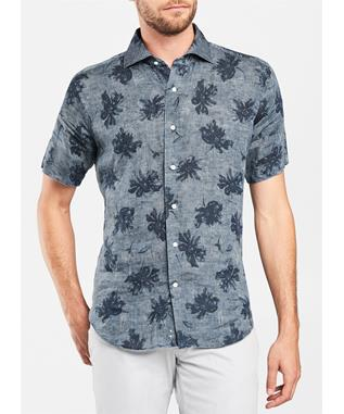 COLLECTION URBAN SAFARI PRINTED INDIGO SPORT SHIRT LIGHT CHAMBRAY