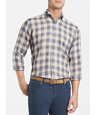 COLLECTION WAIMEA LINEN PLAID SPORT SHIRT AVIO BLUE