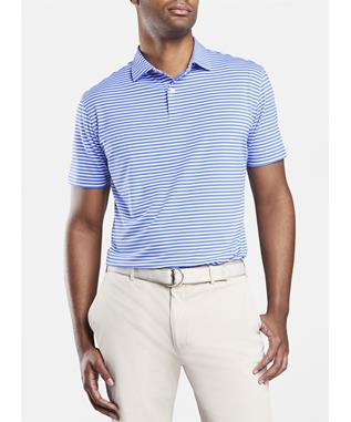 CROWN CRAFTED MILES STRIPE STRETCH JERSEY POLO VESSEL PINK SAND