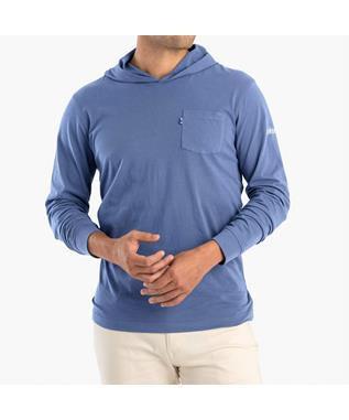 ELLER L/S HOODED T-SHIRT AZURE
