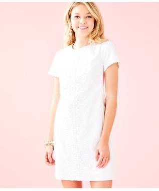 WOMENS MAISIE STRETCH SHIFT DRESS 115 RESORT WHITE KOALA ME MAYB