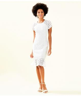 WOMENS ALIZA MIDI DRESS 115 RESORT WHITE POLKA DOT LAC
