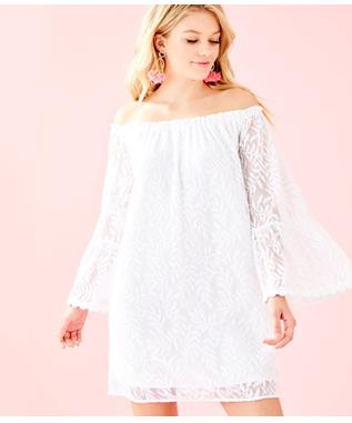 WOMENS NEVIE DRESS 115 RESORT WHITE SWIRLING LEAF