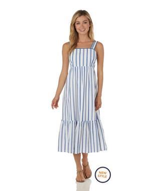 Everly Dress  Cotton Stripe - Ivory/Blue IVORY/BLUE