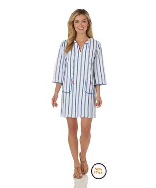 Deanna Dress  Cotton Stripe - Ivory/Blue IVORY/BLUE
