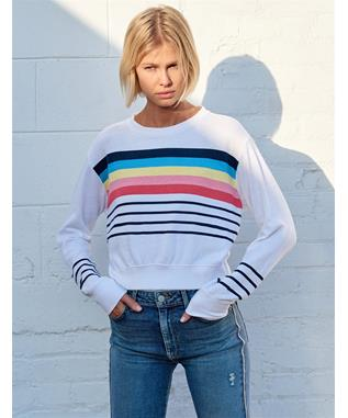STRIPES CROP BLOUSON SWEATSHIRT WHITE STRIPES