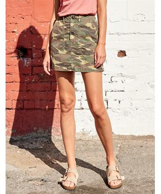 TRI COLOR STAR AND CAMO UTILITY SKIRT GREEN