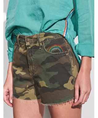 CAMO EMBROIDERED RELAXED CUT OFF SHORTS STONED VINTAGE
