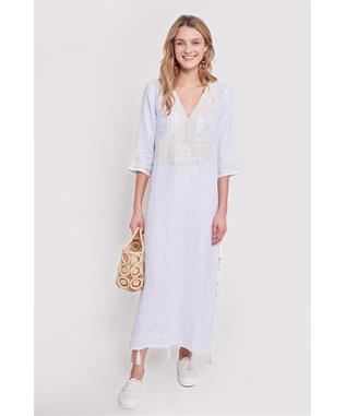 TIG STRIPE RUMA LONG KURTA WHITE/MULTI