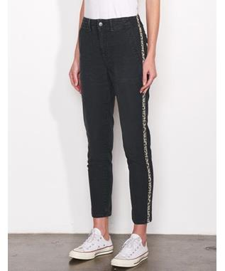 LEOPARD TRIM UTILITY TROUSER SULFUR COAL