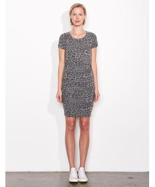 LEOPARD PRINT RUCHED DRESS CHARCOAL