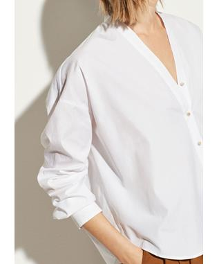 V-NECK BUTTON DOWN OPTIC WHITE