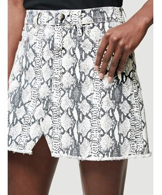 GREY PYTHON SPLIT FRONT LE MINI SKIRT GRIS MULTI
