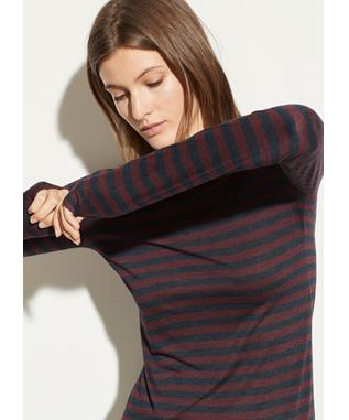 HEATHER STRIPE L/S CREW H. DAHLIA WINE/H. MA