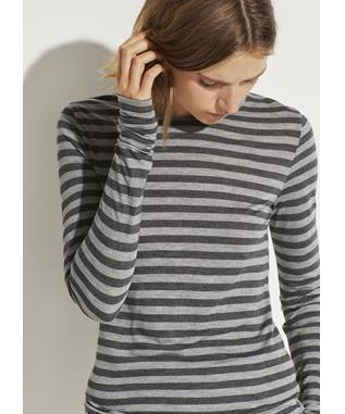 HEATHER STRIPE L/S CREW MED. H. GREY/H. CHAR
