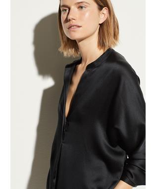 SATIN BAND COLLAR BLOUSE BLACK