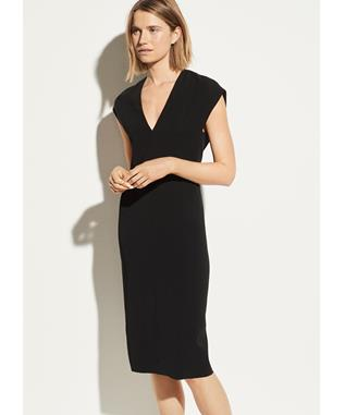 V-NECK PENCIL DRESS BLACK