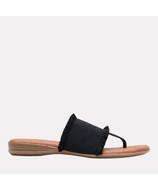 Nanette Elastic Frayed Sandal  BLACK