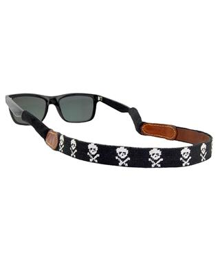 Jolly Roger Needlepoint Sunglass Strap BLACK
