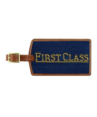 First Class Needlepoint Luggage Tag CLASSIC NAVY