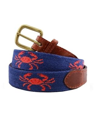 Coral Crab  Needlepoint Belt CLASSIC NAVY