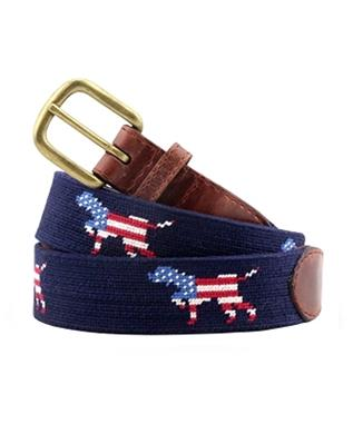 Patriotic Dog on Point Needlepoint Belt NAVY