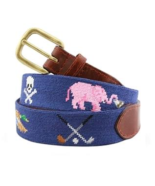 Smathers Life Belt Needlepoint Belt CLASSIC NAVY