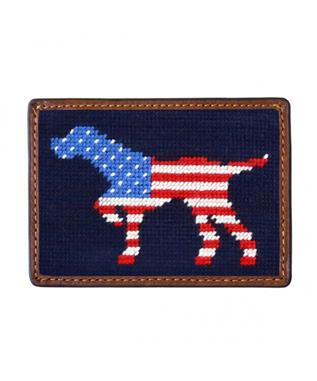 PATRIOTIC DOG ON POINT CREDIT CARD WALLE