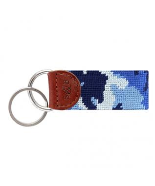 Blue Camo Needlepoint Key Fob MULTI