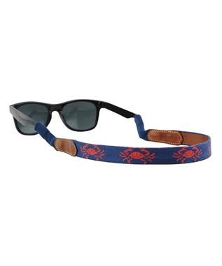 Coral Crab Needlepoint Sunglass Straps CLASSIC NAVY