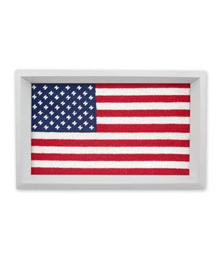 Big American Flag Needlepoint Valet Tray MULTI